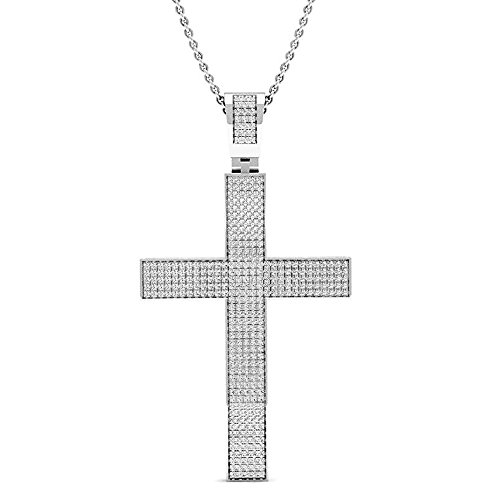 0.73 Carat (ctw) Sterling Silver Round White Diamond Mens Hip Hop Religious Cross Pendant 3/4 CT ()