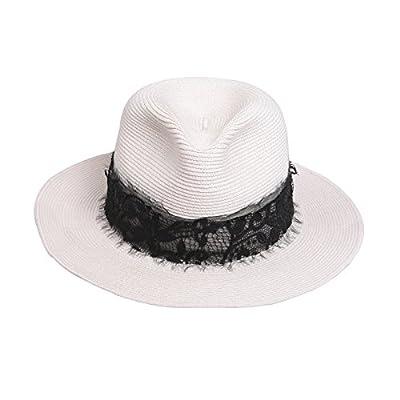 TAOTAO Chapeau de paille d'été pour Lady Chapeau de chapeau de Brim Jazz UV protection plage chapeau de soleil pare-soleil