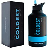 The Coldest Sports Water Bottle 64 oz Wide Mouth Insulated Stainless Steel Hydro Thermos - Cold up to 36 Hrs/Hot 13 Hrs Double Walled Flask - Flip Top Wide Mouth 2.0 (Matte Black)
