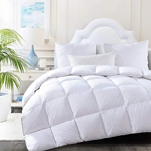 HOMBYS Luxury Oversized Queen All Season Goose Down Comforter 98 x 98 Feather Duvet Insert Super Queen Size Hypo-allergenic 100% Cotton Cover Down Proof with Tabs(White,98 x 98 inch)-Down Comforter