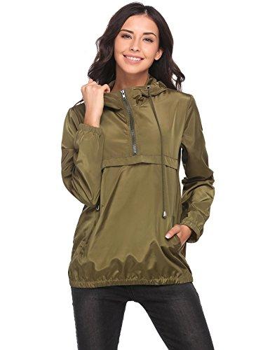 Vansop Women's Waterproof Drawstring Hooded Rain Jacket Half Zip Front Pocket Windbreaker Pullover(Green,M) - Half Zip Windproof Pullover