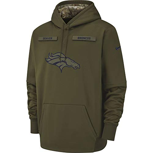 Nike Men's Denver Broncos Therma STS Pullover Hoodie Olive Canvas/College Navy Size Large