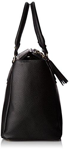 Femme Sac Cuir Bandoulière In Made Italy Élégante Borse Noir Cm À Chicca 40x27x18 Ctm Avec Main Inner xqvEBnXz