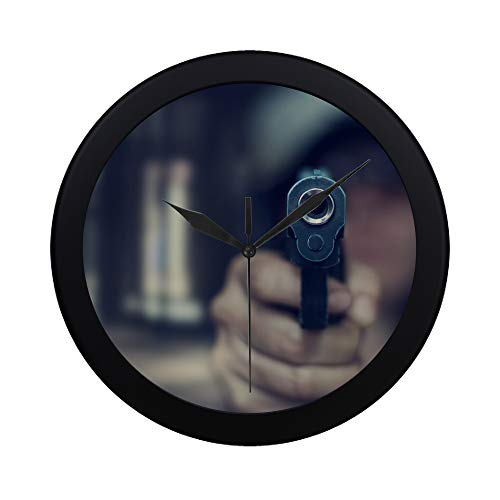 THKDSC Modern Simple Pistol Bullets and Pistols Wall Clock Indoor Movement Wall Clcok for Office,Bathroom,livingroom Decorative 9.65 Inch