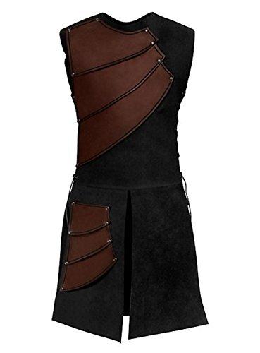 COSFLY Mens Unisex Mid-Long Renaissance Medieval Victorian Waistcoat Vest Costume Split Stage Suit (Brown, Medium)