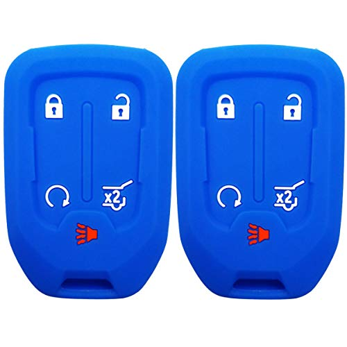 2Pcs Coolbestda Silicone 5buttons Key Fob Remote Skin Cover Protector Keyless Entry Case Accessories for GMC Acadia Terrain Yukon Chevrolet Suburban Tahoe HYQ1AA 13584502 1551A-AA