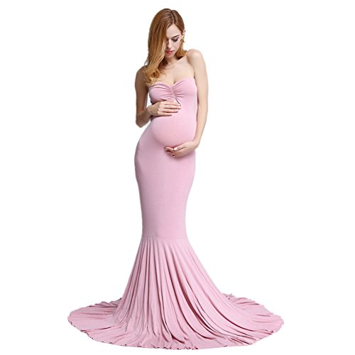 Women's Elegant Fitted Boob Tube on Top Maternity Photography Dress ()