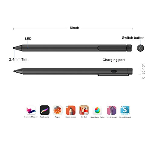 FENTAC Active Stylus Pen 2.4 mm Fine Point Fiber Tip for Touch Screen Devices(Black) by Fentac (Image #3)