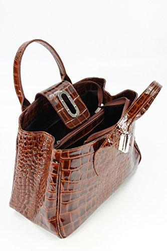 BELLI ital. Echt Leder Handtasche Henkeltasche cognac braun lack Kroko Prägung - 36x25x18 cm (B x H x T)
