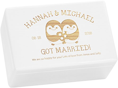 LAUBLUST Engraved Wooden Memory Box - Size L, 12x8x6in - ❤️ Personalized ❤️ Gift Box for Wedding - Penguin Couple | Painted White - Made in Germany