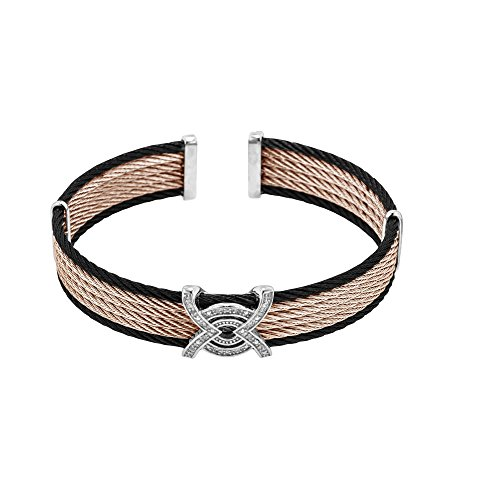 Silver with Ruthenium+Rhodium Finish+Stainlesssteel Wire Cable Cuff Bangle with 0.04Ct.Diamond by BH 5 Star Jewelry