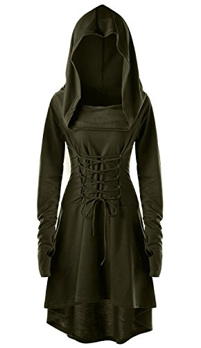 Womens Renaissance Costumes Hooded Robe Lace Up Vintage Pullover High Low Long Hoodie Dress Army -