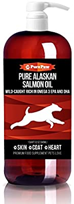 Premium Wild Alaskan Salmon Oil EPA & DHA Best Holistic Remedy for Dog & Cat Dry Itchy Skin & Allergy Relief Softer Fur + New Skin & Coat Gift Sets! by Pure Paw Nutrition
