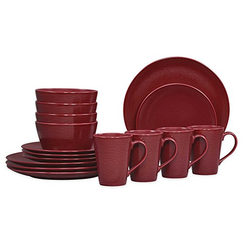 Noritake Coupe (Noritake Red on Red Swirl Coupe 16-Piece Porcelain Dinnerware Set)