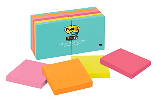 Post-it Super Sticky Notes, 2x Sticking Power, 3 x 3, Miami Collection, 12 Pads per Pack, 90 Sheets per Pad (654-12SSMIA)