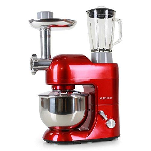 Klarstein Lucia Rossa   kompakte Universal Küchenmaschine mit Mixer / Smoothie Maker und Fleischwolf   1200 Watt leistungsstarke Allzweck Knetmaschine Rührmaschine Teigrührmaschine   inkl. 3x Rühraufsätze (Knethaken, Rührhaken und Schneebesen), 3x Wurstaufsätze (3mm, 5mm, 7mm), Pasta Aufsätze, 5 Liter Rührschüssel aus rostfreiem Edelstahl, 1.5 Liter Mixbecher   leiser Arbeitsvorgang in allen 6 einstellbaren Arbeitsgeschwindigkeiten   Farbe: rot