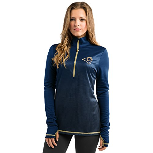- Los Angeles Rams Women's Majestic Play Action 1/2 Zip Synthetic Pullover Shirt (M)