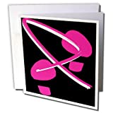 3dRose Breast Cancer Awareness Footprints II - Greeting Cards, 6 x 6 inches, set of 12 (gc_5902_2)
