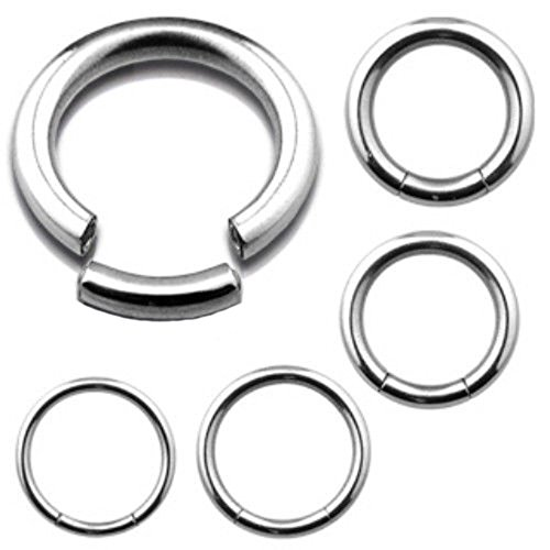 [10 PIECE Wholesale Lot of Steel Segment Rings Captive Bead Body Jewelry (10g (2.4mm) - Diameter 12mm (1/2
