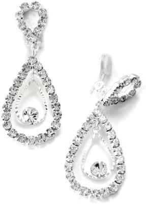 Silver Crystal 2 Layer Teardrop Pear Shape Dangle Clip Earrings Tipped with Upside Down Teardrop Shape