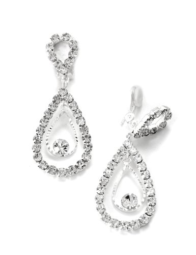 Silver Crystal Rhinestone Two Layer Teardrop Pear Dangle Clip - Clip Earrings Rhinestone