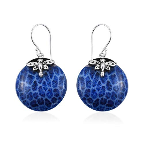Dangle Drop Earrings 925 Sterling Silver Round Sponge Coral Jewelry for Women
