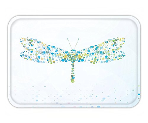 Minicoso Doormat Country Decor By Macro Futuristic Digital Dragonfly Figure Made With Spots And Dots Dynamic Insect Print Decor Blue (Macros Spot)