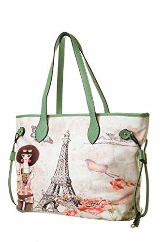 L.colette Vintage Eiffel Tower Picture Top Handle Tote Bag 165024 165024 Green
