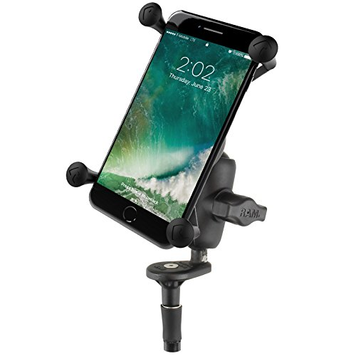 RAM Fork Stem Mount with Short Double Socket Arm & Universal X-Grip Large Cradle for Plus Sized Phones by RAM MOUNTS