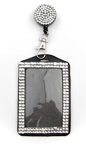 ALL in ONE Rhinestone Lanyard Bling Crystal Badge Reel + Card Holder for Business Id Card (WHITE)
