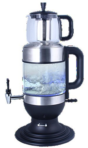 GOLDA INC. 2.5 Liters Glass Samovar, Tea Maker, with Boil-Dry Protection (Black)