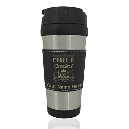 Travel Mug - World's Greatest Boss - Personalized Engraving Included (Black)