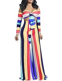 e5159aa0786f Women s 2 Pieces Outfit Off Shoulder Tie Front Bandeau Tops Wide Leg Long  Pants Set Sheer