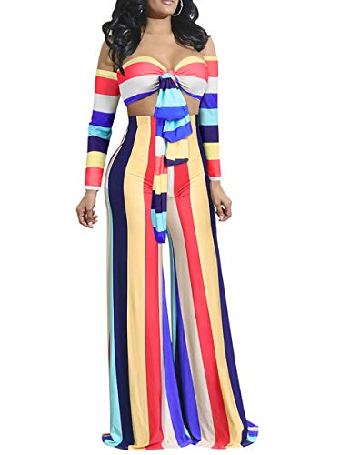 (Mycherish Women's Sexy Off Shoulder Long Sleeve Stripe Print Bandeau Tops Wide Leg Pants Set 2 Piece Jumpsuits Outfits Blue#1 M)