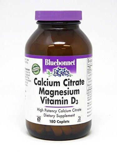 BlueBonnet Calcium Citrate Magnesium Plus Vitamin D3 Caplets, 180 Count Calcium Citrate Caplets