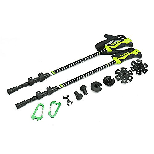 Summates Hiking Walking Stick Trekking Trail Poles-Ultralight & Collapsible with Quick Flip-Lock-1 Pair