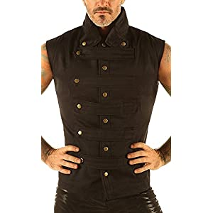 Eimee Men's Steampunk Military Waistcoat Vest Top Mandarin Collar Guard Snap SPA1