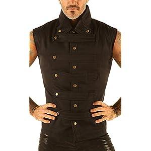 Men's Steampunk Military Waistcoat Vest Top Mandarin Collar Guard Snap SPA1