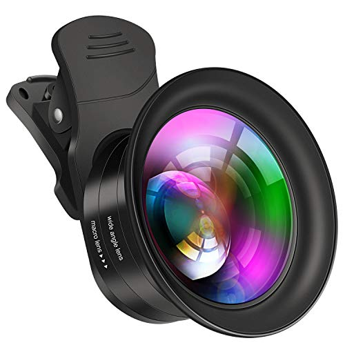 Cell Phone Camera Lens Kit - VIEWOW 4K HD 7 Optical Glasses 15X Macro 0.45X Wide Angle Phone Lens Kit with LED Light and Travel Case, Compatible with iPhone X/XS/8/7 Plus Samsung Pixel