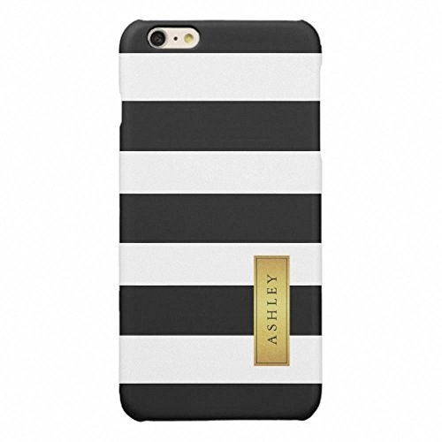 Victorias Secret Pink Label (iPhone 6 Plus Case,iPhone 6S Plus Case,SlimProtective Case Fit for Apple iPhone 6 Plus/6S Plus5.5 inch-Classic Black White Stripe Pattern Gold Label Name Glossy)
