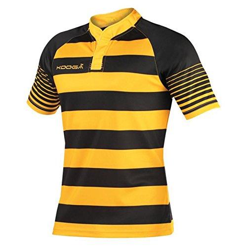 KooGa Junior Touchline Hooped Match Shirt 100% Polyester (X-Large - 34', Black/ Gold)
