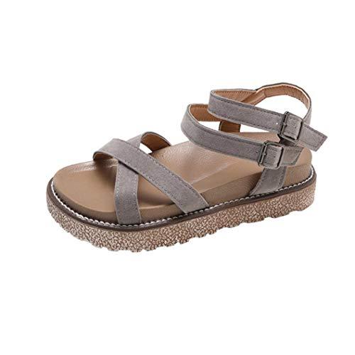 FORUU Women's Vintage Flat Ankle Cross Straps Buckles Beach Shoes Roman Slippers ()