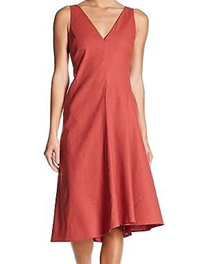 Carmine Women's V-Neck Seamed A-Line Dress Red 4