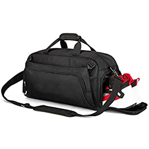 Rimposky Sports Gym Bag Travel Duffel Bag with Shoes Compartment for Men&Women (Black)