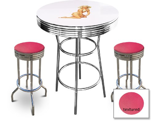 Marilyn Monroe Themed Bar Table Set - White Bar Table with 2 Chrome 29'' Swivel Seat Bar Stools by The Furniture Cove