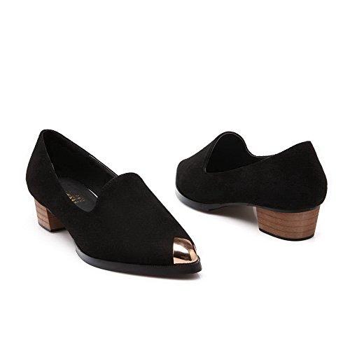 AalarDom Womens Imitated Suede Pull On Pointed Closed Toe Low-Heels Pumps-Shoes Black HaQaT8