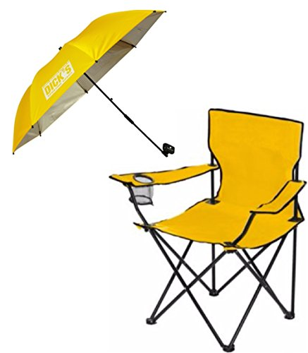 Dicks Sporting Goods Folding Chair With Matching Clamp On Umbrella Shade  Gold