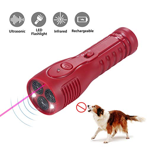 Allenker Dog Barking Control Devices – Rechargeable Anti Barking Device Handheld Ultrasonic bark Control -3 in 1 Training Aid Up to 20ft Control Range W/LED Flashlight and Infrared Laser