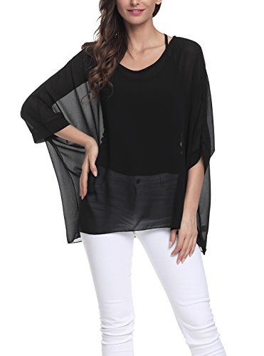 iNewbetter Womens Floral Batwing Sleeve Chiffon Beach Loose Blouse Tunic Tops (One Size, PB305) ()