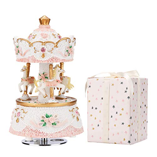 (loveforyou Music Box for Carousel,3-Horse Merchandise Classic Clockworek Musical Box Best Birthday Gift for Kids,Girls,Friends(Melody Castle in The Sky,Pink-White))